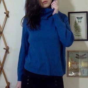 Women's Teal CASHMERE Turtleneck Sweater Size XL